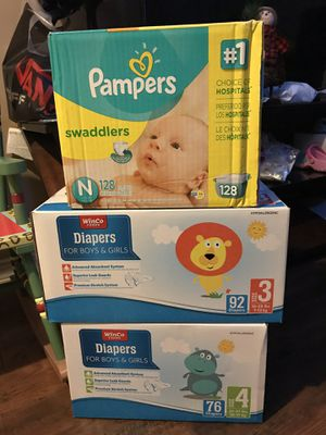 Pampers size N Winco size 3 and 4 for Sale in West Valley City, UT