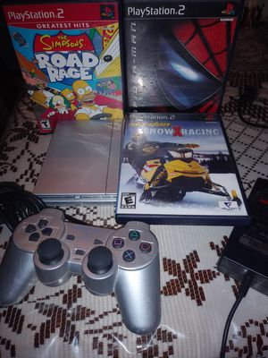 Silver Sony Playstation 2 Slim PS2 Simpson's Road Rage, Spiderman, & Snow X Racing Videogame for Sale in Riverside, CA