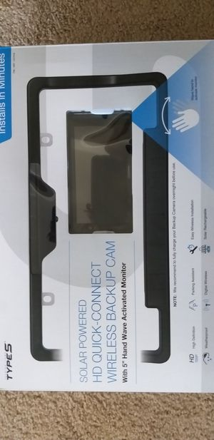 TYPE S, Solar powered HD quick connect wireless Backup CAM with 5 inch hand wave activated Monitor for Sale in Ann Arbor, MI