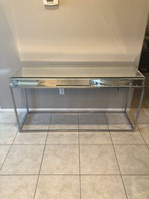 Glass console z gallery table for Sale in Sloan, NV