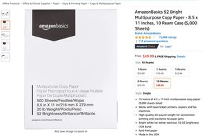 AmazonBasics 92 Bright Multipurpose Copy Paper for Sale in Guyton, GA