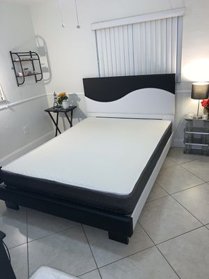 New queen black and white bed frame with the mattress FREE DELIVERY and installation for Sale in Davie, FL