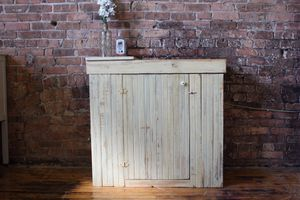 Off White/Light Yellow, Distressed Cabinet/TV/Media Stand for Sale in Chicago, IL