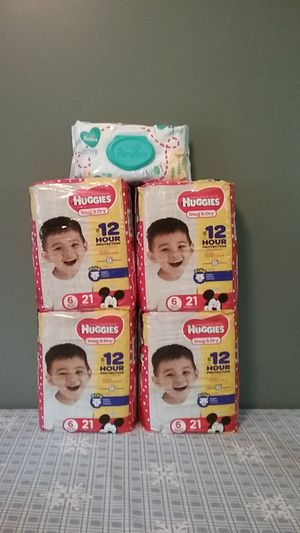 Huggies Snug & Dry size 6 and Pampers wipes for Sale in Attleboro, MA