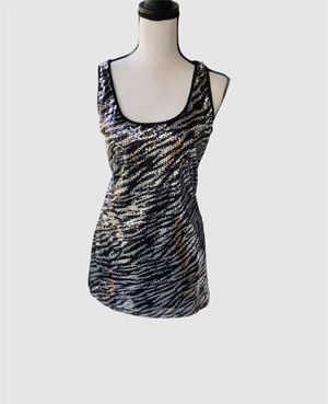 Gorgeous Silver & Black Sequined Top or Mini Dress Sz Medium Sparkle! for Sale in Arcadia, CA