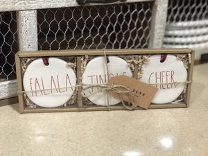 Rae Dunn FALALA JINGLE CHEER Christmas Ornaments for Sale in Beaumont, CA