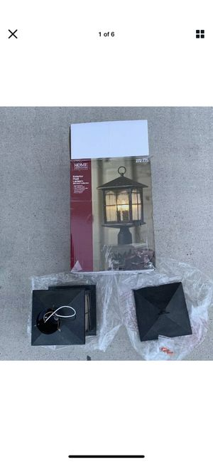 HOME DECORATORS Brimfield 3-Light Outdoor Aged Iron Post Light for Sale in Las Vegas, NV