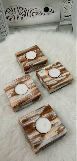 "1-1/2""H X 3-1/2""W X 3-1/2""D 🌱(4 Pc./Set) Solid Wood Tea Light Candle Holders ::: Rustic Havana Coffee/Cream for Sale in Las Vegas, NV"