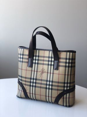 Burberry Bag Haymarket Check Pattern Beige and Brown Leather Coated Canvas Tote for Sale in Philadelphia, PA