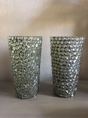 """Glass beaded glass vases. 9.5"""" x 5"""". Vases are sold together or separately. for Sale in Coppell, TX"""