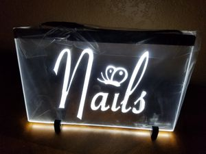 "New Custom 8 x 11"" NAILS Led Plexiglas light-up sign w 4ft cord & chain to hang for Sale in Winters, TX"