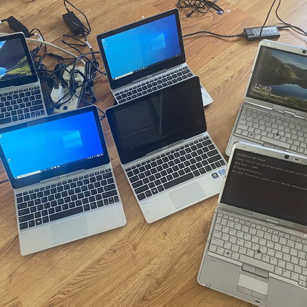 Lot 6 laptops with issues hp revolve/hp Elitebook i5 touchscreen Ssd 128gb/HDD 500gb Ram 4gb
