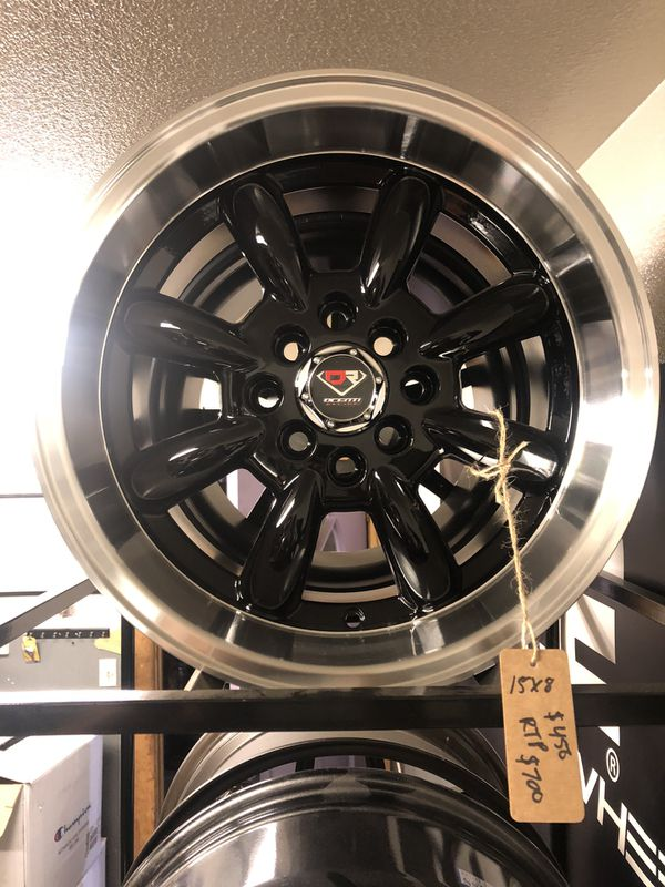 BRAND NEW set (4) Black and machined lip 15 inch rims for only$450!!!