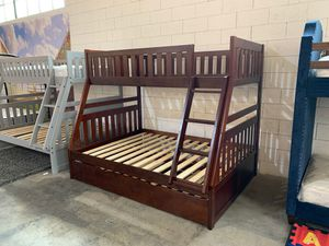 Twin over full wooden bunk bed frame with pull out trundle for Sale in Dallas, TX