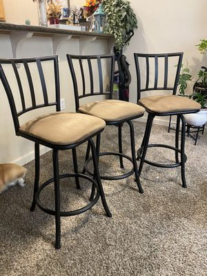 SET of Three Brown and Black Bar Stools for Sale in Tacoma, WA