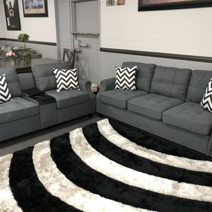 2PC Gray Sofa & Love Seat W/ Cup Holders & USP Outlet for Sale in Fresno, CA