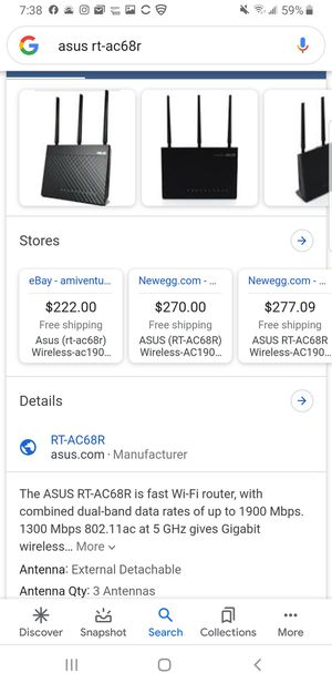 ASUS RT-AC68R dual bound router. Sells for around $250 on Amazon. 50%off! for Sale in Issaquah, WA