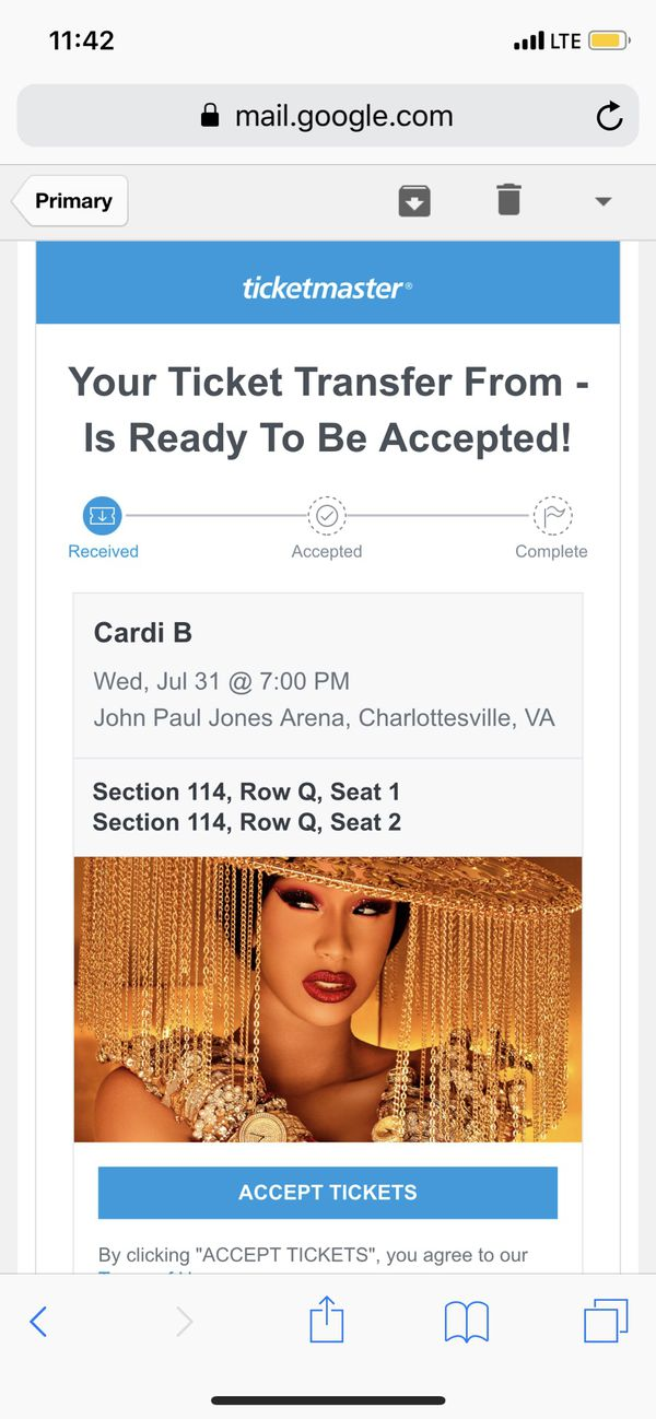 Two front row tickets to see Cardi B