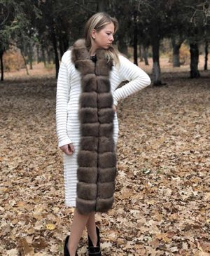 Knitted cardigan with real fur colar for Sale in Brooklyn, NY