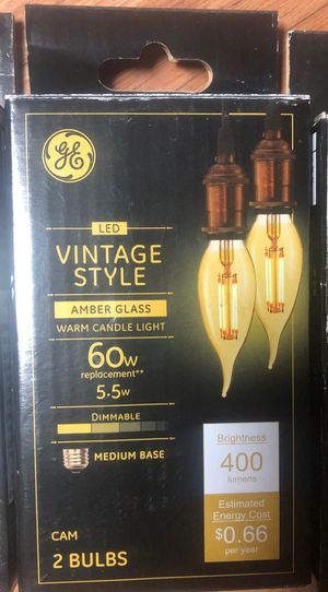 GE - Vintage 400-Lumen, 5.5W Dimmable candle LED Light Bulb, 60W Equivalent (2-Pack) - Amber for Sale in Garden Grove, CA