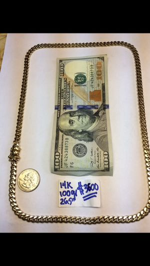 14K Solid Gold Chain Cuban Links 100Gr 26.5 Inches for Sale in Miramar, FL