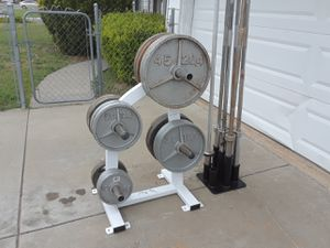 Olympic Weight sets And Olympic Bars Please Read for Sale in North Highlands, CA