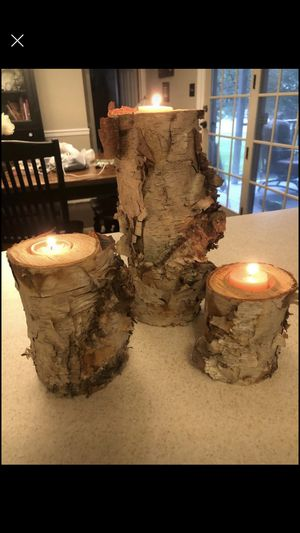 Birch wood candle holder set of 3 for 20$ for Sale in Lancaster, PA