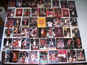 michaell jordan lot of 114 cards all different $90 with inserts rares great lot of jordans for Sale in Tacoma, WA