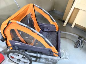 InStep Quick-N-EZ 10 Orange Double Bike Trailer Tow Behind & Stroller Jogger for Sale in Cedar Valley, UT