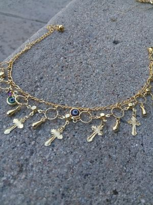 "Gold ankle bracelet $15 ""crosses"" for Sale in San Diego, CA"