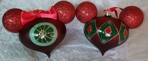 Disney Parks Mickey and Minnie Mouse Head Ornament Glitter Set for Sale in Spring Valley, CA