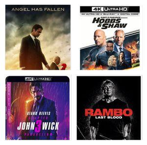 The Badass Bundle - Four 4K Movies - Digital Copy Codes of John Wick 3, Rambo, Angel Fallen, Hobbs -Shaw for Sale in Eastvale, CA