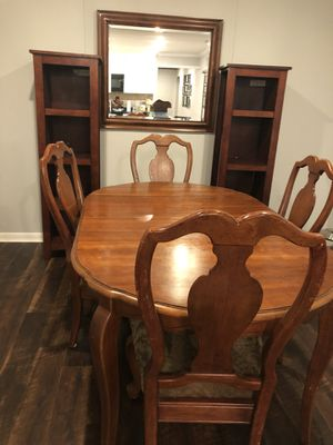 Wood table and 4 chairs. Used in good condition .bookshelves and mirror not included. for Sale in Virginia Beach, VA