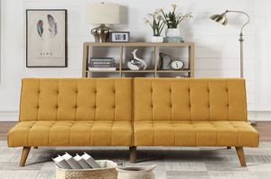 Brans new mustard yellow armless sofa bed futon very spacious and comfortable delievry available ask for details for Sale in Los Angeles, CA