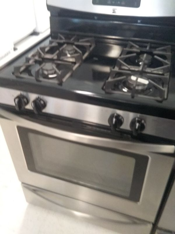 Kenmore gas stove stainless steel used good condition 90days warranty