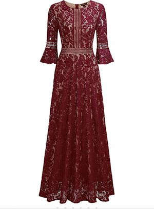New woman Full Lace Contrast Bell Sleeve Formal Long Dress for Sale in Santa Ana, CA