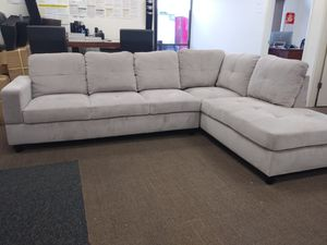 New Grey Corduroy fabric Sectional with Storage Ottoman for Sale in Puyallup, WA