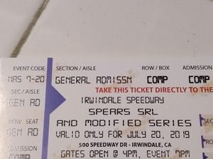 Irwindale Tickets Speedway for Sale in Arcadia, CA