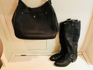 Navy Genuine Leather Boots Size 8 Joan and David with matching Navy Purse (Ann Taylor) for Sale in Tigard, OR