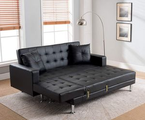 BLACK FUTON Tufted BONDED LEATHER Sectional Sofa Bed for Sale in Ontario, CA
