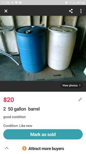 2-50gal barrels for Sale in Bell, CA