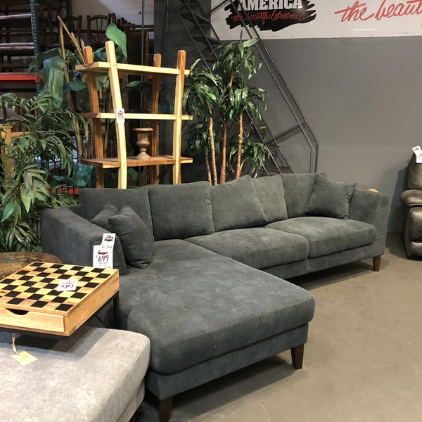 New & In Stock! Dark Grey Sofa & Chaise Only $699! Add Ottoman For $199!
