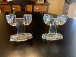 Pair Queen Mary Hocking glass double candle holders for Sale in West Covina, CA