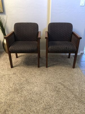 Pair of conference chairs with wood frame for Sale in Gilbert, AZ