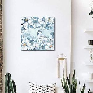 ((FREE SHIPPING)) Square canvas wall art - light blue water color style painting of bird and flowers Painting like print for Sale in Redwood City, CA
