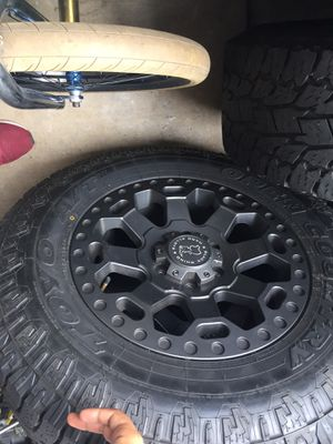 Rims and tires Toyo black rhino hard alloys for Sale in Lake Forest, CA