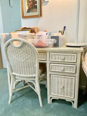 1970's White Rattan 3 drawer Desk and Chair Set for Sale in Huntington Beach, CA