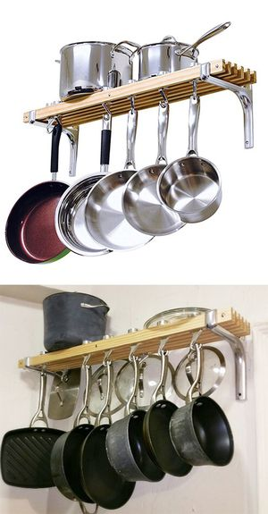 "(NEW) $30 Kitchen Wall Mounted Wooden Pot Rack 36x8"" Storage Shelf Hooks for Sale in Montebello, CA"