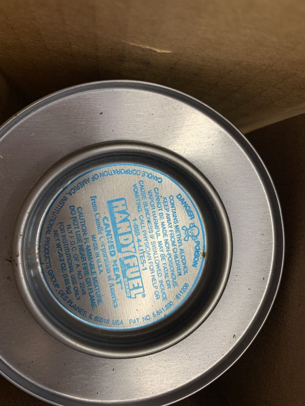 Chafing dish fuel: Canned heat, handy fuel 25 cans