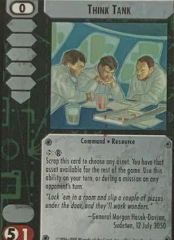 Battletech TCG Think Tank 1998 Edition Wizards of the Coast CCG Trading Card for Sale in Oregon City,  OR